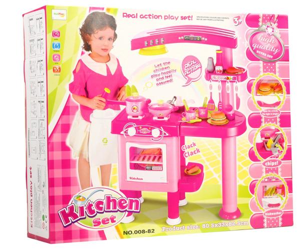 Duża Kuchnia Dla Dzieci Okap Piekarnik 32 Naczynia Zabawki Agd