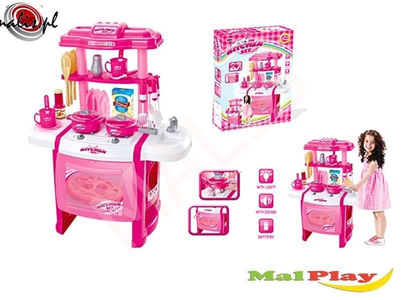 Różowa Kuchnia Dla Dzieci Piekarnik Garnki Talerze